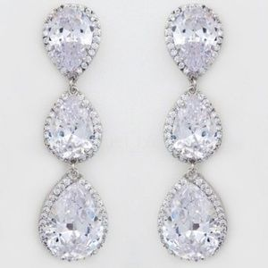 Long CZ Triple Teardrop Drop Earrings